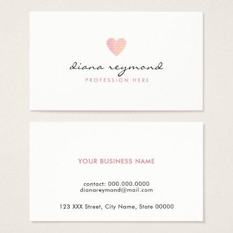 feminine love pink heart professional women business card