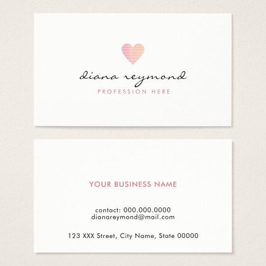 Feminine love pink heart professional women business card zazzle feminine love pink heart professional women business card colourmoves Gallery