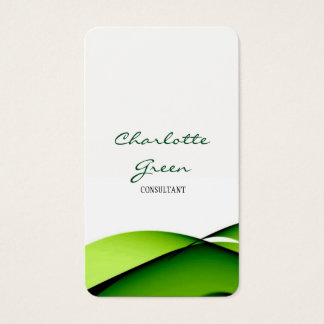 Feminine Minimalist Green Curves White Plain Business Card