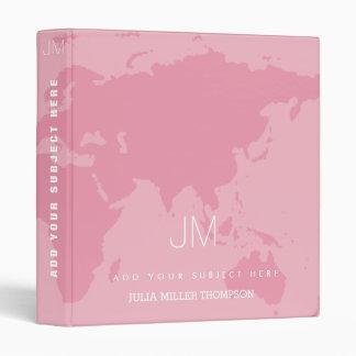 feminine & nice pink world map 3 ring binder