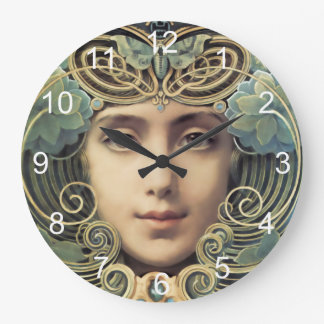 Feminine Nouveau Vintage Beauty Large Clock