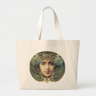 Feminine Nouveau Vintage Beauty Large Tote Bag