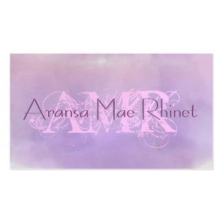 Feminine Pastel Purple Pink Cloud Initial Cards