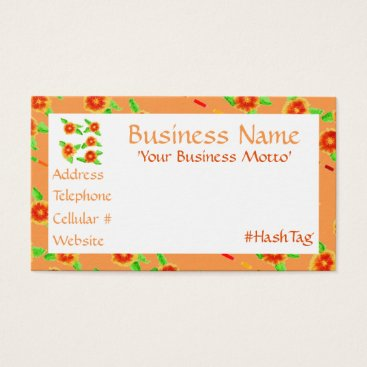 Professional Business Feminine Peach Orange Floral Business Card