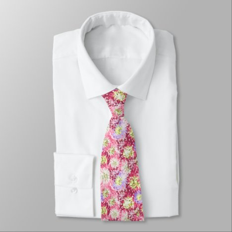Feminine pink and mauve floral neck tie