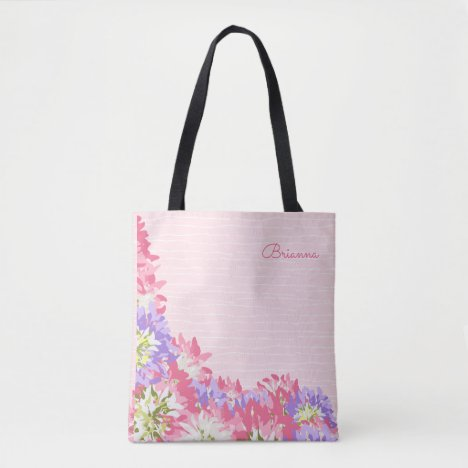 Feminine Pink and Mauve flowers monogram Tote Bag