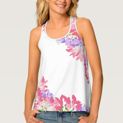 Feminine pink and mauve flowers tank top