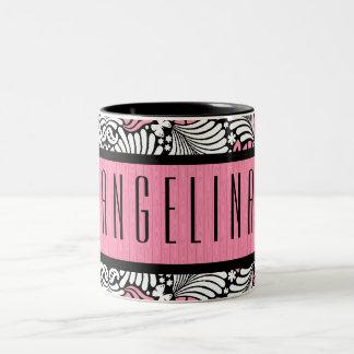 Feminine Pink and White Retro Leafy Pattern Two-Tone Coffee Mug