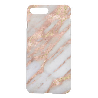 Feminine Pink and White Striated Marble Pattern iPhone 7 Plus Case