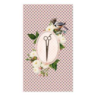 feminine pink birds floral scissors hairstylist business cards