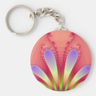 Feminine Pink Burst Fractal Design Gear Keychain