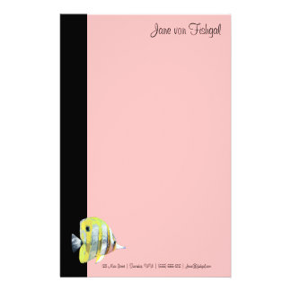Feminine Pink Copper-banded Butterfly Fish Stationery