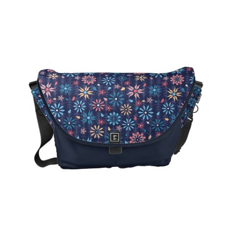 Feminine pink flowers on dark blue background small messenger bag
