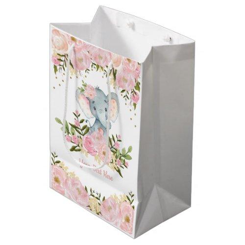 Feminine pink gold Elephant Baby Watercolor Floral Medium Gift Bag