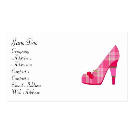 Feminine pink plaid business cards zazzle for Feminine business cards