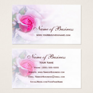 Feminine Pink Rose Flower Elegant Floral Business Card