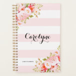 "Feminine Pink Stripes Floral Personalized Planner<br><div class=""desc"">Feminine and elegant planner illustrations of pink peonies,  flowers and foliage. This pink botanical planner will be perfect as a personalized gift.</div>"