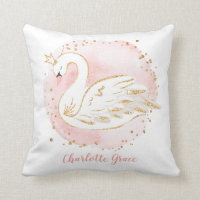 Feminine Pink Swan Princess Nursery Decoration Throw Pillow