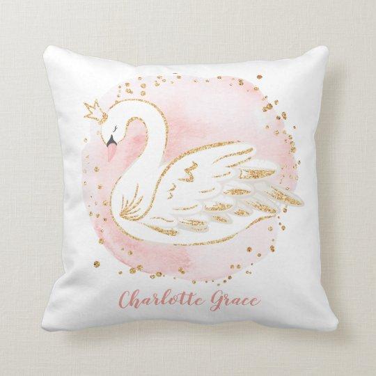 Feminine Pink Swan Princess Nursery Decoration Throw Pillow