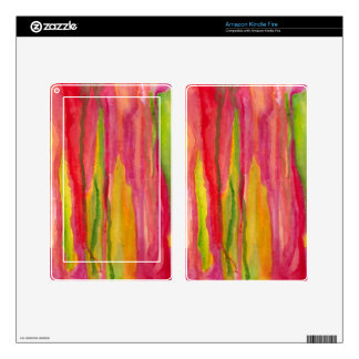Feminine Pink,Yellow Abstract Watercolor Painting Kindle Fire Skin
