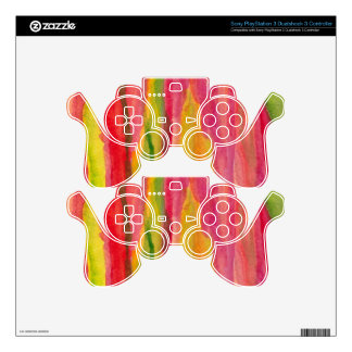Feminine Pink,Yellow Abstract Watercolor Painting PS3 Controller Decal