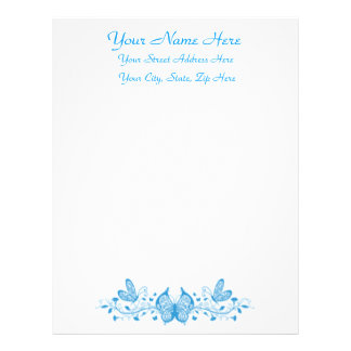 Feminine Pretty Blue Butterfly w Formal Script Customized Letterhead