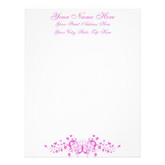 Feminine Pretty Pink Butterfly w Formal Script Custom Letterhead