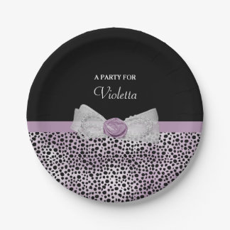Feminine Purple Cheetah Print Girly Bow Party Name Paper Plate