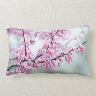 Feminine Redbud Tree, Pretty Spring Pink Blooms Throw Pillow