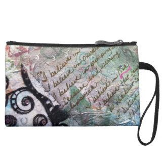 Feminine Reflections Suede Wristlet Wallet