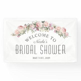 Feminine Rose Floral Bridal Shower Welcome Banner