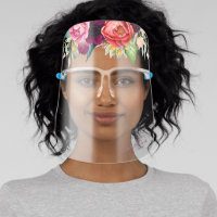 Feminine Rustic Boho Floral with Name Face Shield