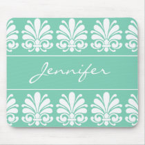 Feminine Shell Flourish Damask Personalized Mouse Pad