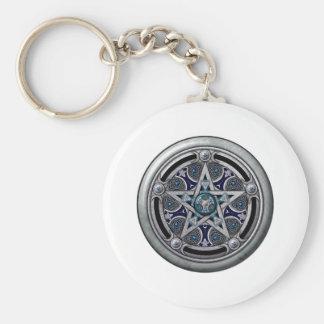 Feminine Silver Pagan Pentacle Key Chain