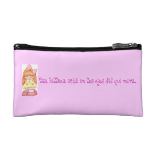 Feminine stock market with phrase on beauty makeup bags