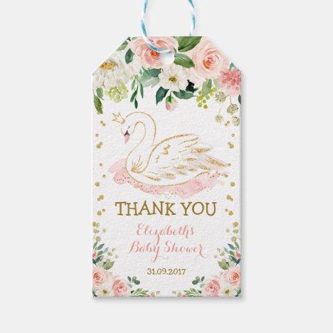 Feminine Swan Princess Floral Rose Birthday Favors Gift Tags