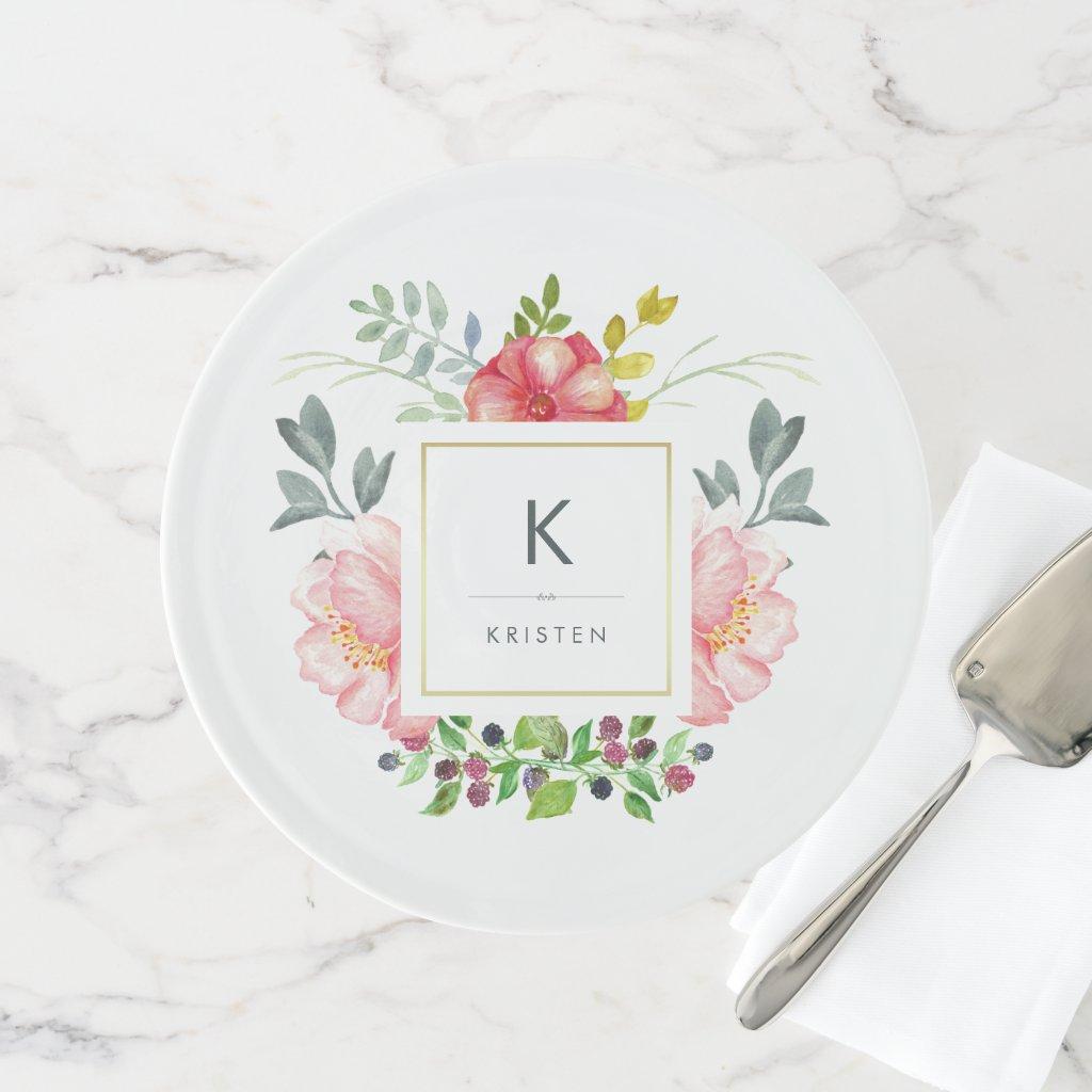 Feminine Trendy Watercolor Peony Flowers Monogram Cake Stand