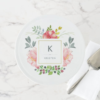Feminine Trendy Watercolor Peony Flowers Monogram Cake Stand