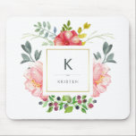 "Feminine Trendy Watercolor Peony Flowers Monogram Mouse Pad<br><div class=""desc"">This beautiful mousepad features lovely watercolor style pink peonies and gray and green leaves. A square frame with faux gold foil is in the center, and you can personalize with your name and monogram by using the template. (PLEASE NOTE: the gold look is printed on, and this mousepad does not...</div>"