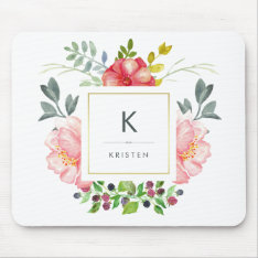 Feminine Trendy Watercolor Peony Flowers Monogram Mouse Pad at Zazzle