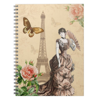 Feminine vintage fashion notebook with flowers
