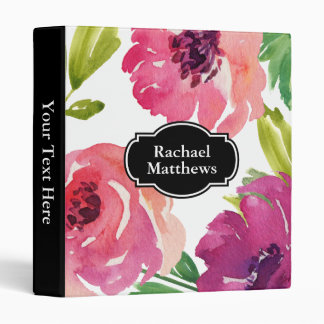 Feminine Watercolor Floral Custom Binder