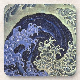 Feminine Wave by Hokusai - Cork Coaster