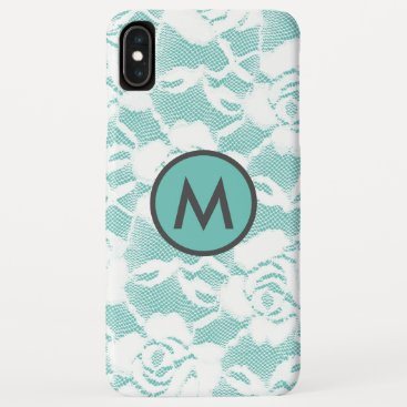 Feminine White  Lace over Teal iPhone Case