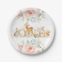 Feminine Woodland 1st Birthday / Pink Gold Floral Paper Plate