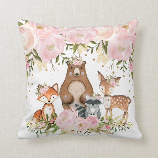 Feminine Woodland Animal Forest Nursery Decor Throw Pillow