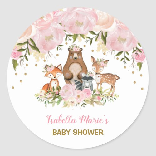 Feminine Woodland Baby Shower Blush Floral Favors Classic Round Sticker