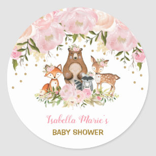 Woodland Baby Shower Stickers Sticker Designs Zazzle