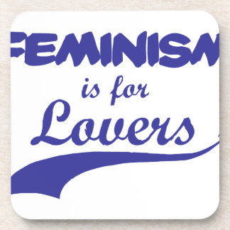 Feminism is for Lovers Blue Drink Coasters