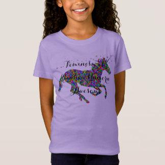 Feminism is Rainbow Unicorn Awesome Girls T-Shirt
